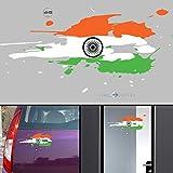 WallDesign India Flag Jai Bharath Flag Car Stickers for Body/Glass/Wall - Colour Splash Design