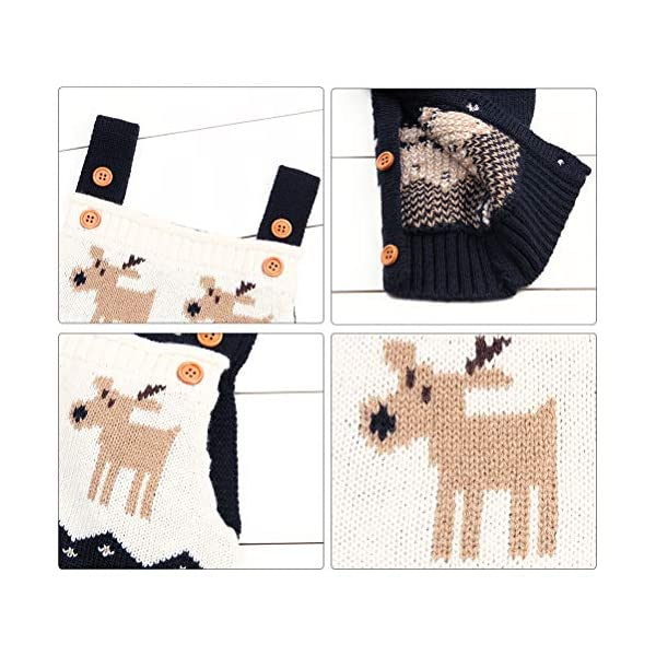Odziezet Navidad Peleles Mono de Punto Bebé Pantalones con Peto Rojo Azul Invierno Recién Nacido 0-1años 3