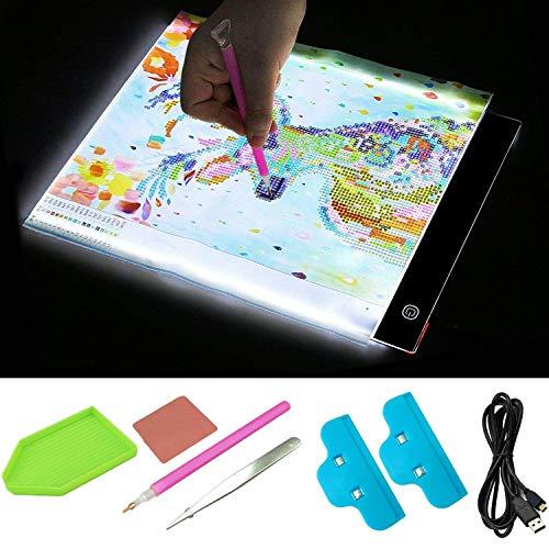 Diamant Malerei Kreuzstich Stickerei Set Kit mit A4 LED-Licht Tablet Board Pad Clips USB Kabel Tray Diamond Stitch Pen Kleber Pinzette -