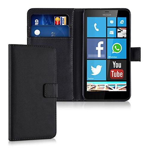 kwmobile Funda para Microsoft Lumia 640 XL - Wallet Case plegable de cuero sintético - Cover con tapa tarjetero y soporte en negro