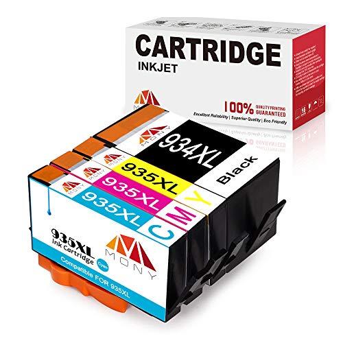 Mony Compatible Cartuchos de Tinta HP 934XL 935XL (1 Negro, 1 Cian, 1 Magenta, 1 Amarillo) Compatible con HP Officejet Pro 6830 6812 6230 6835 6815 6820 6220 Impresoras