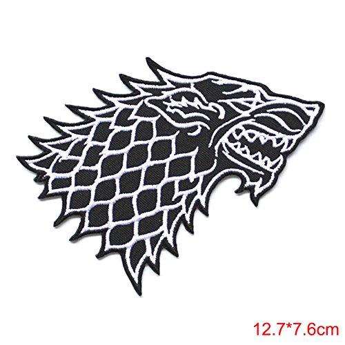 Athena Game of Thrones Haus Stark Direwolf 12,7x 7,6cm bestickt Eisen/Aufnäher Patch ()