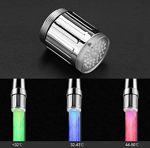 Colorido Grifo de Agua LED con 3 Colores Que Cambian La Temperatura Control Agua Corriente Grifo Grifo para Cocina y Baños