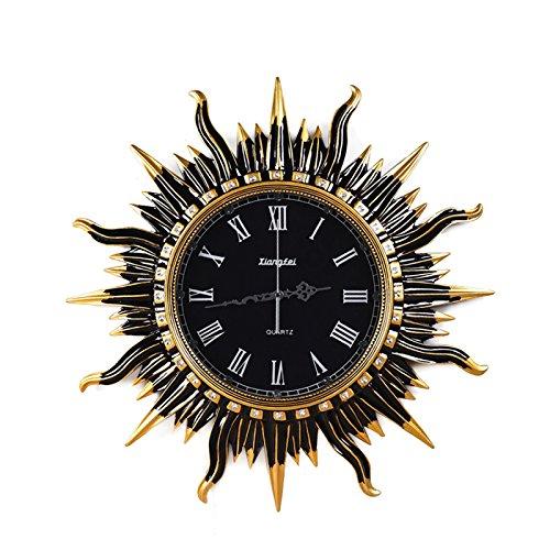 Kreative Kunst im europäischen Stil der dekorativen Wanduhr Retro Wohnzimmer rund um die Sonnenuhr Mute Wohnzimmer Uhren und Accessoires,20 Zoll,Retro Gold (Sonnenuhr Uhr)