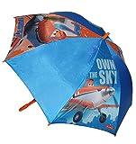 Unbekannt Regenschirm - Disney Planes Flugzeug Dusty - Automatik - Kinderschirm Ø 83 cm - für Kinder Stockschirm Schirm - Jungen Auto Kinderregenschirm blau Fahrzeuge Sprühflugzeug