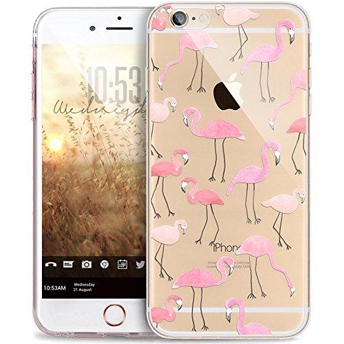 JAWSEU Coque Etui pour iPhone 6/6S 4.7,iPhone 6 Coque Transparent en Silicone,iPhone 6S Étui Tpu Cristal Clair,Ultra Slim Mince Créatif Motif Protecteur Téléphone Couverture Soft Silicone Crystal Clea *rose