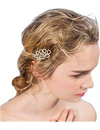 YAZILIND Elegante Tocado de Belleza de la Mujer Nupcial de la Boda Broche  de Pelo de Fiesta cz Perla de aleacion… 0c30a16e007d