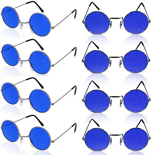 German Trendseller® - 1 x Brille John Lennon ┃ Hippie Flower Power ┃ Ultra Blau ┃ 1 Stück