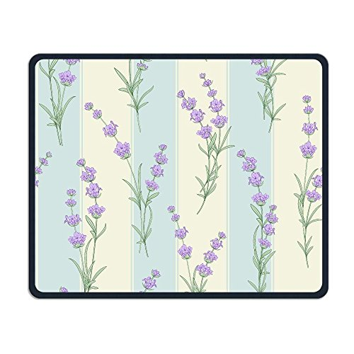 Wireless Mouse Pad, Lavender Purple Flora Flower Print Mouse Pads, Magic Keyboard PC Gaming Optical Laptop Wired SurfaceMouse Pad Mat for Women Men at Home or Work (Purple Mouse Wireless)