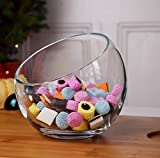 Clear Glass Sphere | Hand Crafted Decorative Snack & Dip Bowl 16 cm high | Slant