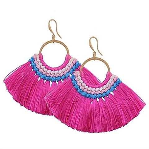 Minshao Tassels Dangle Drop Earrings Ethnic Handcrafted Bohemia Stud Earrings Eardrop Vintage Gothic Jewellery for Women and Girls (Hot Pink)