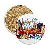DIYthinker London Eye Buckingham Palace England Ceramic Coaster-Schalen-Becher-Halter Absorbent Stein für Getränke 2ST Geschenk Mehrfarbig