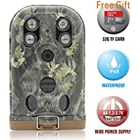 Hunting Trail Camera Ereagle Scout Game Camera with Night Vision Waterproof IP68 HD 1080P 12MP 940nm IR LED Time Lapse Hidden Camouflage for Deer Hunting Forest Security E1B