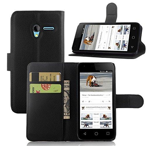 Tasche für Alcatel OneTouch Pixi 3 (4.5 zoll) Hülle, Ycloud PU Ledertasche Flip Cover Wallet Case Handyhülle mit Stand Function Credit Card Slots Bookstyle Purse Design schwarz