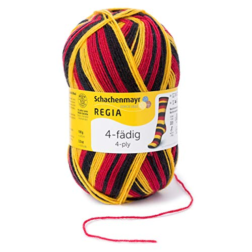 REGIA 4-fädig Color 9801269-05397 schwarz/rot/gold Handstrickgarn, Sockengarn, 100g Knäuel