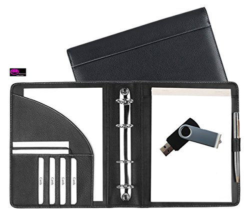 Preisvergleich Produktbild excl. Leder – Ringbuchmappe A5 aus feinstem Copana Rindnappaleder schwarz, mit silbergrauen Nähten – incl. USB Stick 4GB - von FIHA-Promotion