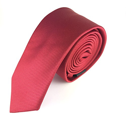 MASSI MORINO Krawatte Slim-Fit, handgenäht aus Mikrofaser in verschiedenen Farben - schmale Herrenkrawatte, Skinny & Silk Ties (Rot Unifarben)