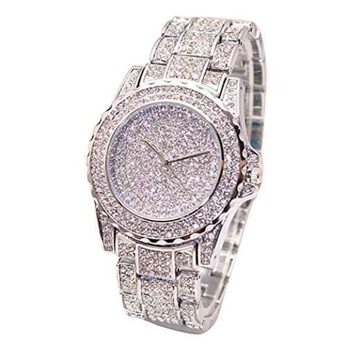 Frauen Luxus Quarz Diamanten Uhren,Hevoiok Mode Damen Zeitloses Glasquarz Armbanduhr (Silber)