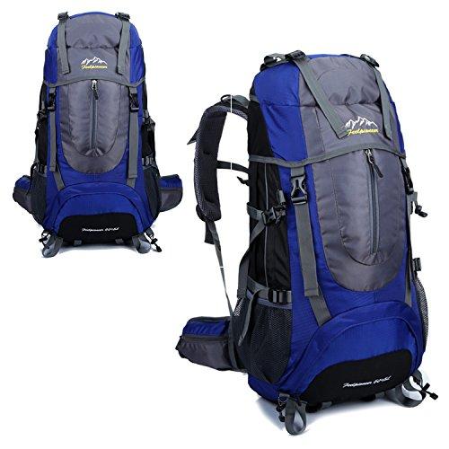 BYD - Supergroßes 65L Unisex Rucksäcke Im Freien Wandern Klettern Freizeit Trekkingrucksäcke Outdoor Taschen Radfahren Reiten Reisetaschen wasserdicht Backpack Blau