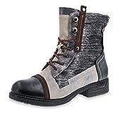 Marimo Damen Schnür Stiefel Stiefeletten Metallic Worker Boots in Lederoptik gefüttert Braun 38