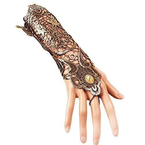(CAOLATOR Dame Handschuhe Spitze Lang Fingerlos Brauthandschuhe Vintage Abendhandschuhe Ellenbogen Spitzen-Handschuhe für Hochzeit Venezianischen Karneval Classic Opera Fest Party 20 * 5cm)