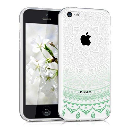 kwmobile Crystal Case Hülle für Apple iPhone 5C aus TPU Silikon mit Indische Sonne Design - Schutzhülle Cover klar in Mintgrün Weiß Transparent