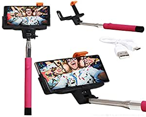 Selfie Stick Extendable Monopod With Inbuilt Bluetooth Connectivity Compatible For For InFocus M808 -Pink