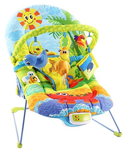 Baybee Premium My First Melody Baby Bouncer With Soothing Vibration & Musical (Green / Orange)