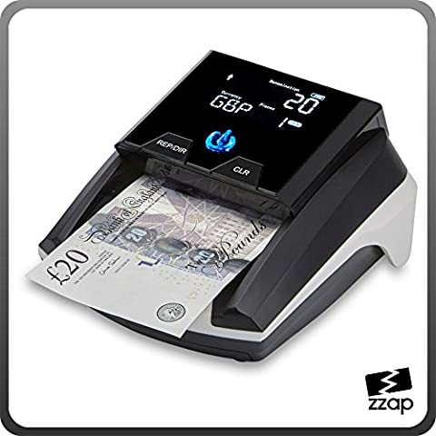 The ZZap D40+ Counterfeit Banknote Detector - Checks 2 currencies, verifies in less than 0.5 seconds, rechargeable battery and more!