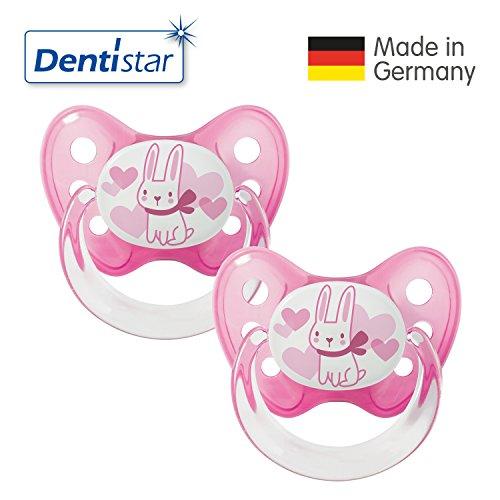 Dentistar® Latex Schnuller 2er Set inkl. 2 Schutzkappen - Nuckel Naturkautschuk Größe 2, 6-14 Monate - für Babys - Hase, pink