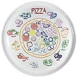 Set aus 4 Stück Pizzateller Frühstücksteller aus echtem Porzellan Ø 300 mm mit interessantem Pizza-Zutaten-Dekor Geschenkidee