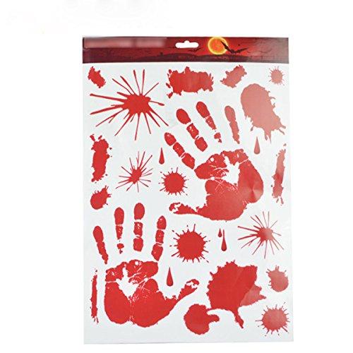 Tang-moine 2pcs Halloween Blut Blutige Hände Füße PVC Tür Fenster Home Glas Aufkleber Dekoration Aufkleber Dekor Wand Horror Aufkleber (Hände Dekor Blutige Fenster)