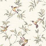 Fine Decor Papier peint Motif oiseaux et feuilles scintillantes Beige doré