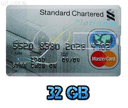 Uk a2z ® chartered standard 32gb carta di credito style usb flash drive/memory stick