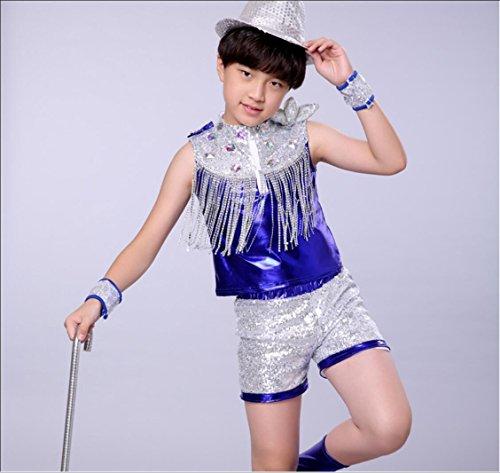Kinder Jazz Modern Dance Dance Kostüm Jungen Pailletten Kinder Bühnenkostüm Blau, 170cm, 2