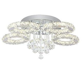 SAILUN® 76W LED Warmweiß Deckenleuchte 5-flammig Kristall Deckenlampe Flur Wohnzimmer Lampe Schlafzimmer Küche Energie Sparen Licht Wandleuchte (76W Warmweiß)
