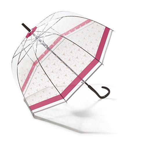Pierre Cardin Damen Regenschirm Glockenschirm transparent/durchsichtig mit Automatik Symetrique pink/Beere
