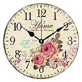 ufengke Rustikal 12 Zoll Beige Holz Wanduhr mit Arabischen Ziffern - Vintage Elegante Blumen Ohne Tickende Wanduhr Dekor