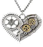 Collana Cuore Meccanico colore argento, gioielli Steampunk