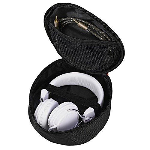 Hama Kopfhörer Tasche für On Ear/Over Ear Headset (Netz-Innentasche, Case mit Karabinerhaken, Innenmaß 17 x 6 x 16,5, universelle Schutztasche) schwarz
