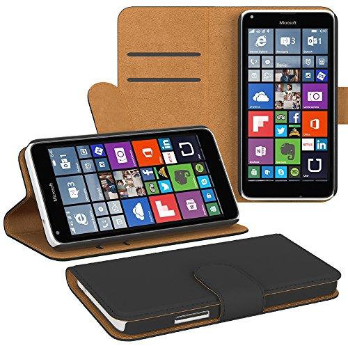PREMIUM - Book-Style Case für - Nokia Lumia 640 Dual Sim - Wallet Case Flip Cover Hüllen Schutzhülle Etui Hülle mit Standfunktion Schwarz