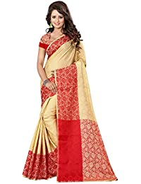SATYAM WEAVES WOMEN'S ETHNIC WEAR POLYCOTTON SAREE WITH BLOUSE PIECE.(ASHOKA FLOWER ) (RED)