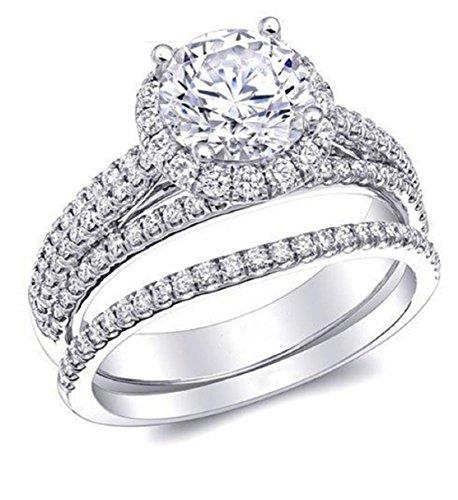 Gowe Forever Brilliant Halo moissanites Hochzeit Brautschmuck Set 1CT Lab gewachsen Diamant Triple Split (Diamant-moissanite Ring)