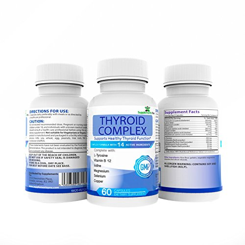 COMPLESSO TIROIDEO. 60 capsule con 14 INGREDIENTI ATTIVI, inclusi L-Tirosina, Iodio, Vitamina B12, Selenio, Laminaria (Grande Magnesio)