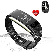 Jcotton Bluetooth Smart Watch IP67 impermeable Smart pulsera monitor de ritmo cardíaco deportivo pulsera Fitness Tracker Multi-Sport modo salud monitor pedómetro mensaje de llamada recordatorio para IOS teléfono Android (negro)
