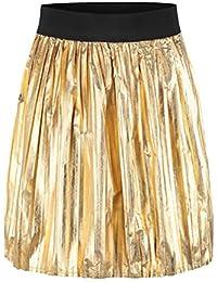 2720453dd8a1 Rock Damen Kurz High Waist Gefältelt Vintage Hippie Punk Mode Hipster Party  Stil Unique Casual Gold