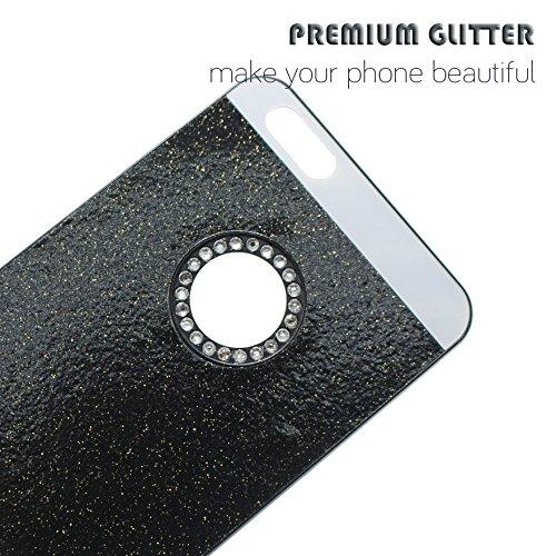 Schutz Hülle Tasche für Apple iPhone 6 6s ROSA Bling Hart Strass Kunststoff Plastik Glitzer Handy Cover Case Schwarz