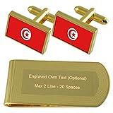 Drapeau Tunisie Gold-tone de manchette argent gravé Collier Cadeau...