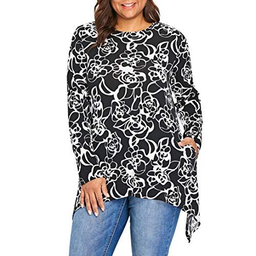 JUTOO Frauen Plus Size Blumendruck Langarm Unregelmäßige Swing Bluse Pullover Tops(Schwarz,EU:48/CN:3XL)