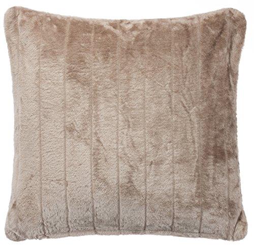 Exklusive Fellkissen mit Füllung - Nerz Look Kuschel Kissen - Größe: 45 x 45 cm - In der Farbe: Taupe - von Brandsseller